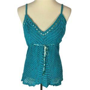 Faded Glory Y2K Silk Crochet Tie Tank Top